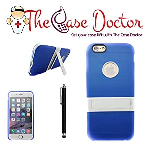 TCD for Apple iPhone 6 [4.7 inch device ONLY] Thin Utra Slim [LIGHT BLUE] Opaque Rubber Shell Case with Kickstand [includes FREE SCREEN PROTECTOR AND STYLUS PEN]
