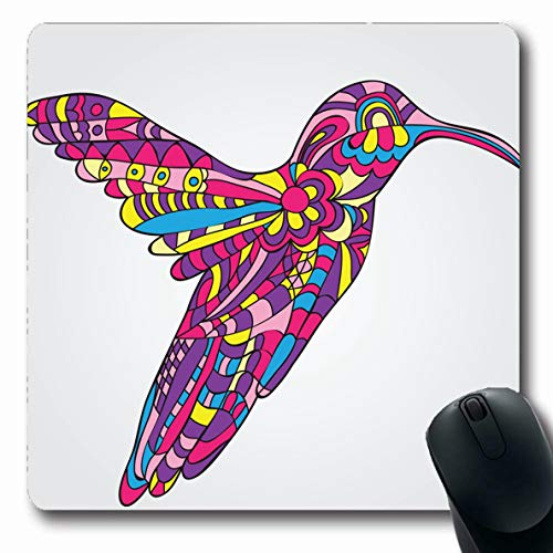 Ahawoso Mousepads for Computers Bird Pink Annual Hummingbird Doodle Pattern Aggressive Bloom Beak Beast Black Design Head Oblong Shape 7.9 x 9.5 Inches Non-Slip Oblong Gaming Mouse Pad