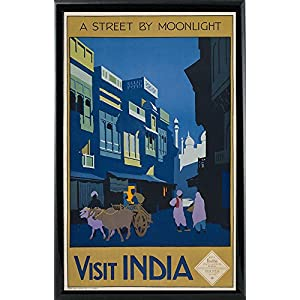 """Frame USA a Street by Moonlight-Visit India-PRIPUB131077 12.75""""x8"""" by Print Collection, 12.75x8, Black Metal Frame"""
