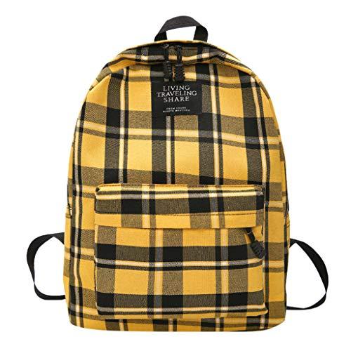 (Kids School Backpack, YEZIJIN Women New Bag Female Student College Wind Bag Plaid Canvas Backpack Travel Bag)