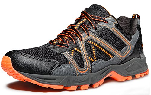 TSLA Men's Outdoor Sneakers Trail Running Shoes, Trail(t320) - Orange & Grey, 9