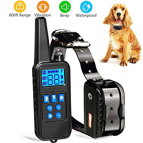 Dog Training Collar with Remote Waterproof Shock Collar 800 Yards Control with Beep Vibration and Harmless Shock Rechargeable No Barking Collar for Small Medium Large Dog by Vivostore