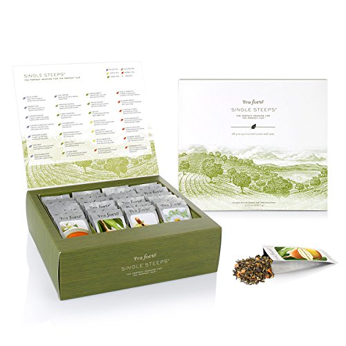 Tea Forté SINGLE STEEPS Loose Tea Sampler TEA CHEST, 28 Different Single Serve Pouches - Black Tea, Green Tea, White Tea, Herbal Tea
