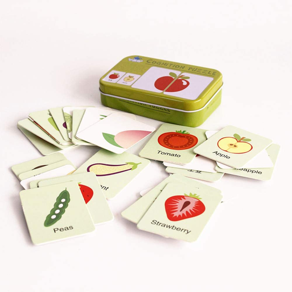 Baby Infant 32pcs Flash Card Jigsaw cognition Puzzle Shape Matching Puzzle Cognitive Learning Early Education Card Learning Toys in a Box - Fruits & Vegetables