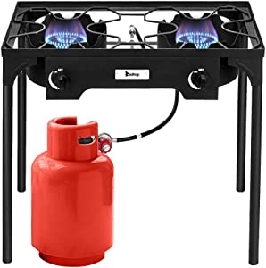 Henf Outdoor Camp Stove High Pressure Propane Gas Cooker Portable Cast Iron Patio Cooking Burner Perfect for Camping Patio(Double Burner 150000-BTU)