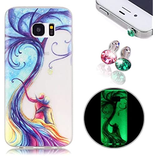 Galaxy S7 TPU Case, Pershoo Fashion Luminous Colorful Printing Scrub Anti Fingerprint Ultra Slim Anti-Scratch Rubber Case Cover for Samsung Galaxy S7 + 2pcs Sales