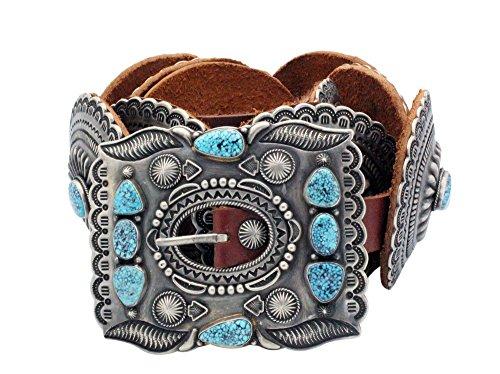 Harry H Begay, Concho Belt, Kingman Turquoise, 11 Pieces, Navajo Handmade ()