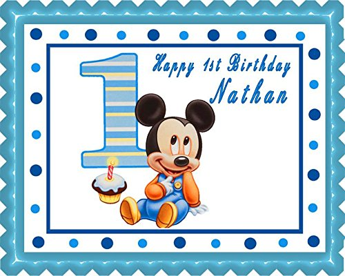BABY MICKEY MOUSE 1st Birthday Edible Cake Topper - 7.5