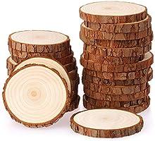 Fuyit Holzscheiben 25 Stücke Holz Log Scheiben 8-9cm Unvollendete Holzkreise Ungebohrte Holzkreise ohne Loch für DIY...
