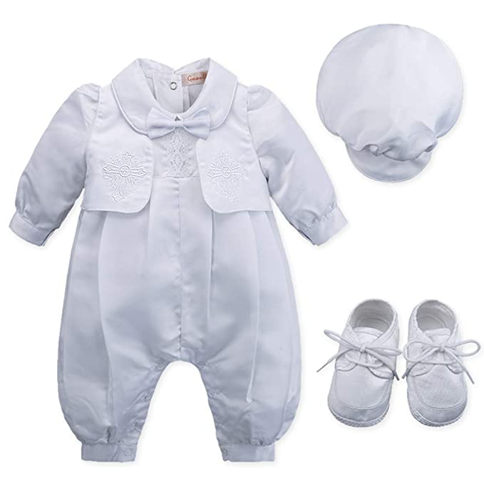 0f9edf327 Baby Boy s 4 Pcs Set White Christening Baptism Outfits Cross ...