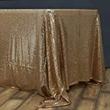 BalsaCircle 60x102-Inch Gold Rectangle Tablecloth for Wedding Party Cake Dessert Events Table Linens: more info