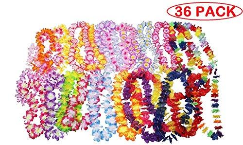 36 Counts Tropical Hawaiian Luau Flower Lei Party Favors (3 Dozen) Dozen Lei
