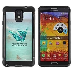 LASTONE PHONE CASE / Suave Silicona Caso Carcasa de Caucho Funda para Samsung Note 3 / cool hand sign surf dude beach text