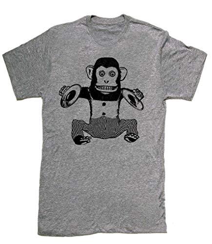 Skip N' Whistle T-Shirts Men's Monkey Cymbals Shirt Mens Cute Funny Graphic Print Tee Tri Blend Humorous Style - Heathered Grey, XL