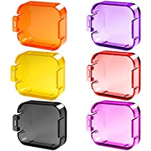 6 Pack Diving Lens Filters for GoPro Hero 5 6, FineGood Color Correction Compensation Filters for Underwater Video Photography Filming for Hero5 Hero6 Sport Action Camera - Red Yellow Purple Pink Orange Grey