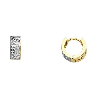 02350fc280f Amazon.com: Solid 14k Yellow Gold Small Huggie Hoop Earrings Huggies ...