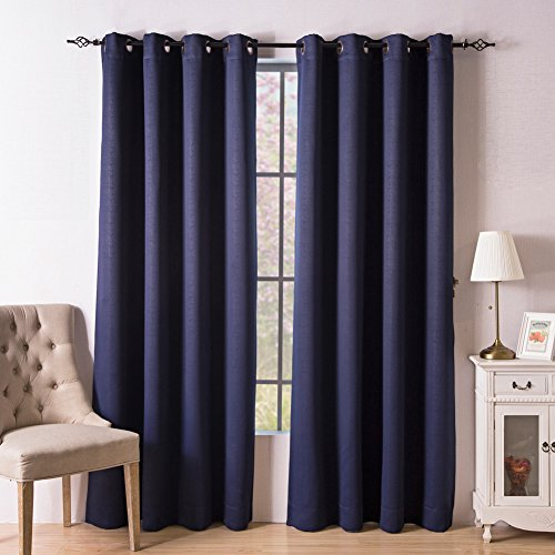 Valea Home Blackout Room Darkening Thermal Insulated Curtains Grommet Top Window Drapes for Living Room, 2 Tie Backs included, 52 inch wide by 84 inch long, Navy Blue, Set of 2