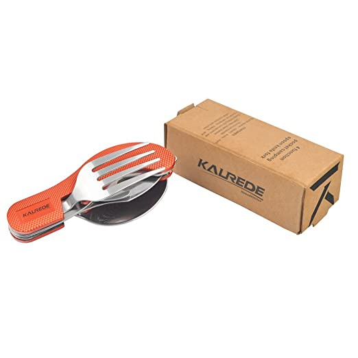 KALREDE Set de cubiertos plegables de camping de acero inoxidable de 4-en-1 - Cuchillo, cuchara, tenedor, abrebotellas -Cuchillo Hobo,Naranja