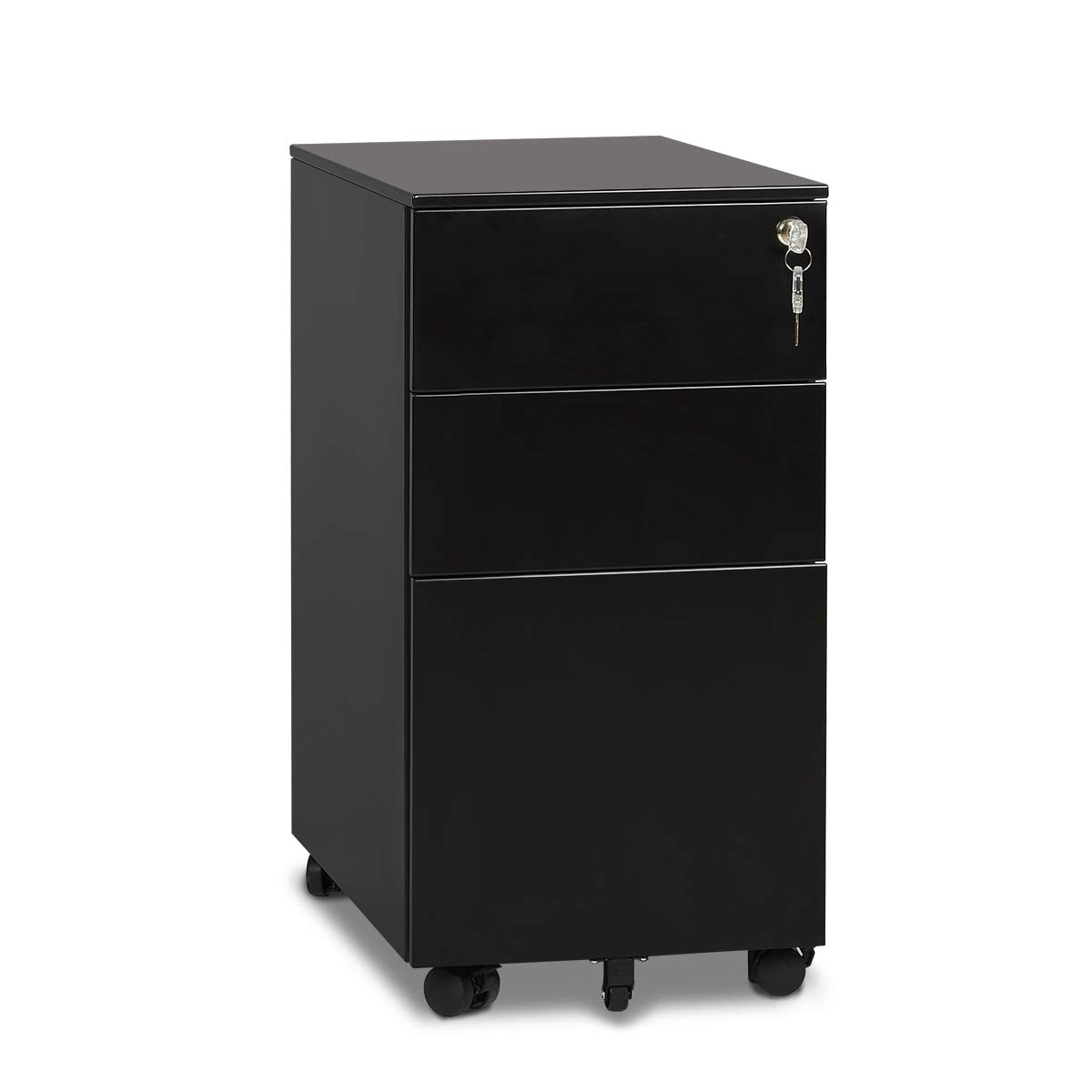 DEVAISE 3 Drawer Metal File Cabinet with Lock in Black (15.4