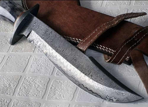 Handmade Damascus Steel 15.25 Inches Bowie Knife – Solid Marindi Wood/Bone Handle(Case/Knife may vary slightly))
