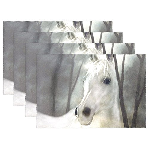 DNOVING Horse White Art Painting Nature White Horse Mold Placemats Set Of 4 Heat Insulation Stain Resistant For Dining Table Durable Non-slip Kitchen Table Place Mats -