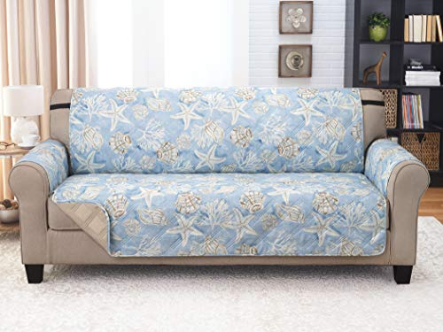 Couch Guard XL Sofa Cover, Slipcover, Furniture Protector. Shield & Protects from Dogs, Cats, Pets, Kids, Stains. Reversible, Quilted with Elastic Strap. Easy Wash & Dry. Key Largo Blue & Sand (Best Stain Guard For Couches)