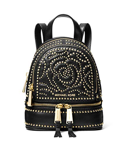 (Michael Kors Rhea Mini Rose Studded Leather Convertible Backpack - Black)