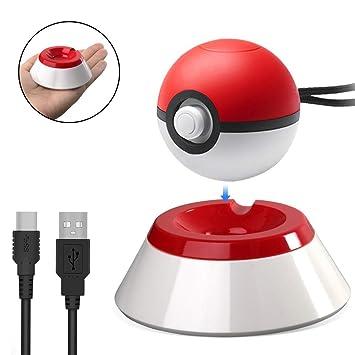 Spixy Poke Ball Plus Soporte de Carga, Drop & Charge con Cargador USB Tipo C Cable Bracket Dock Station Compatible para Nintendo Switch Controller ...