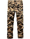 SSLR Mens Cotton Military-Style Army Cargo Pants (34, Khaki Camouflage)
