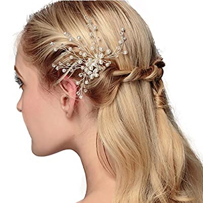 Silver Crystal Bridal Hair Pin with Pearls Wedding Headpiece