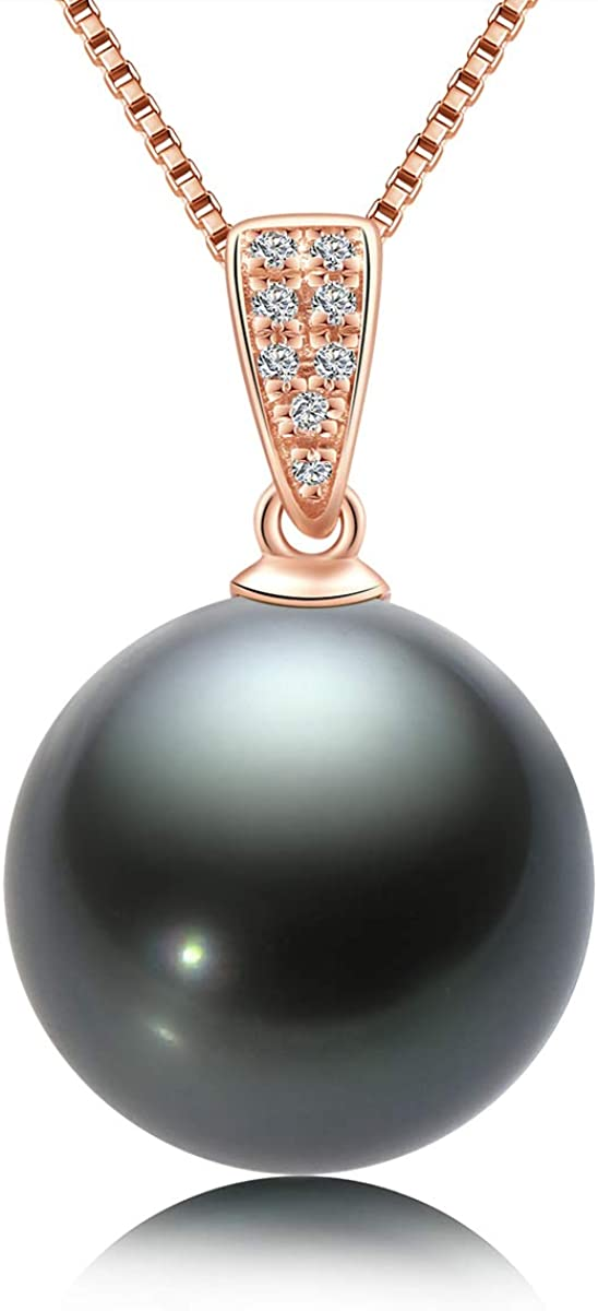 Black Pearl Necklace Tahitian Pearl Pendant Single 18K Gold Genuine Cultured Pearl Necklaces with Diamond Silver Chain Pearl Gifts for Women 10-11mm White Gold/Rose Gold/Yelow Gold
