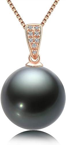 10-11mm Tahitian Black Pearl 14K Yellow Gold Pendant W// Genuine Diamonds
