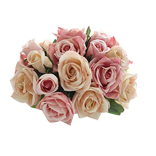 Outtop 9 Heads 10.6 Inch Rose Artificial Flowers Bouquets Real Touch Fake (Artificial Roses)