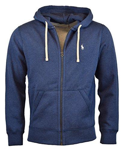 Polo Ralph Lauren Classic Full-Zip Fleece Hooded Sweatshirt - L - Blue Heather (Mens Ralph Lauren Fleece)