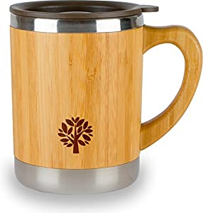 Stainless Steel & Bamboo Coffee Mug - Insulated Wooden Cup with Handle & Lid - Non-Spill On the Go - Keep Your Tea Hot Longer - Unique Gift for Men & Women - 11 oz / 300 ml by JJecommUS