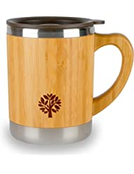 Stainless Steel U0026 Bamboo Coffee Mug   Insulated Wooden Cup With Handle U0026  Lid   Non
