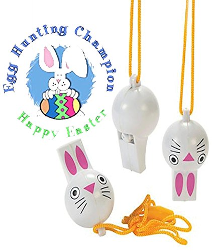 Festive Easter Bunny Whistles Set With Attached Lanyard! Perfect Addition for Any Easter Basket Or Easter Egg Hunt! (Set of 3) Plus Bonus