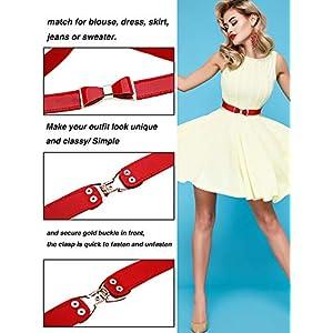 Tatuo 3 Pezzi Donne Skinny Cintura Sottile Elastico Cintura Fiocco per il Vestito, 3 Colori