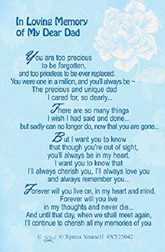 "Xpress Yourself Loving Memory Keepsake Card 3.25"" x 2"" - In Loving Memory Of My Dear Dad XY25042 Xpress Yourself XY25042"