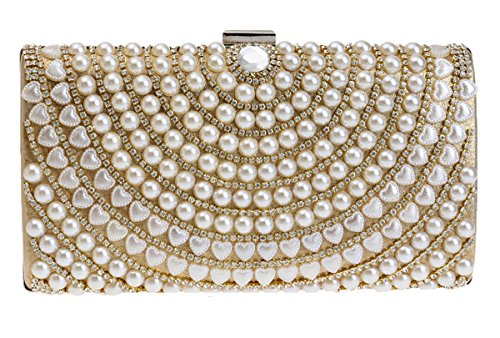 Crystal colori con Night Perle Oro 3 Purse strass Bridal Handbag cinturino Collezione Women Out Clutch con Santimon For fqwaFFY