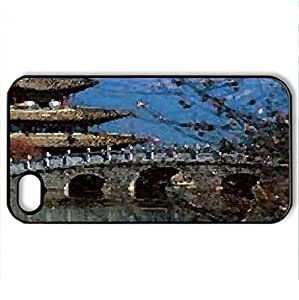 hong kong - Case Cover for iPhone 4 and 4s (Watercolor style, Black)