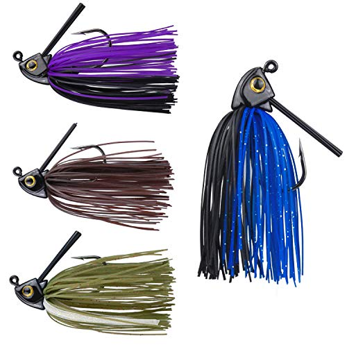 (RUNCL Anchor Box - Swim Jigs, Bass Fishing Jigs 3/8oz - Silicone Skirts, Spike Trailer Keeper, Fish-Shaped Streamlined Head, Weedguard System, Proven Colors - Fishing Lures (Pack of 4))
