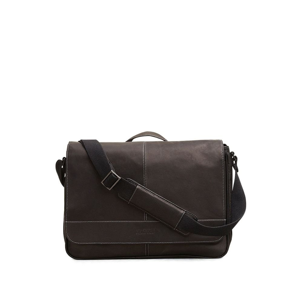 Kenneth Cole Reaction''Risky Business'' Colombian Leather Flapover Cross Body Messenger Bag, Black, One Size