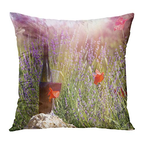 (Emvency Throw Pillowcase Red Wine Bottle and Glass Ground of Against Lavender Landscape Sunset Over Summer Field in Provence Fashion Square Size 18 x 18 Inches Zippered Home Decor Cushion)