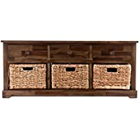 Southern Enterprises Jayton Storage Bench with 3 Woven Baskets, Antique Brown Finish and Natural Water Hyacinth