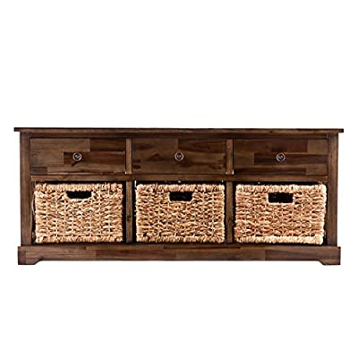 """Southern Enterprises Jayton Storage Bench with 3 Woven Baskets, Antique Brown Finish and Natural Water Hyacinth - Features 3 drawers and 3 woven baskets; Removable baskets for carrying contents or revealing optional shelf space Coastal style; Antiqued brown finish with natural water hyacinth; Distressed wood planks and antique bronze finish hardware Overall: 43.5"""" W x 12.75"""" D x 18.5"""" H; Seat: 43.25"""" W x 12.5"""" D; Drawers: 11.5"""" W x 9.5"""" D x 3.5"""" H; Baskets: 9.5"""" W x 8.5"""" D x 7"""" H; Clearance: 37.5"""" W x 6.5"""" D x .5"""" H - entryway-furniture-decor, entryway-laundry-room, benches - 5194mRpwwrL. SS400  -"""