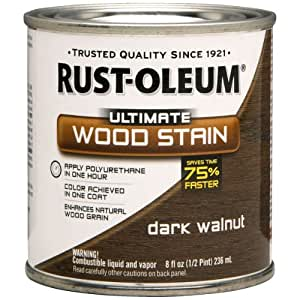 Rust-Oleum 260363 Ultimate Wood Stain, Half Pint, Dark Walnut