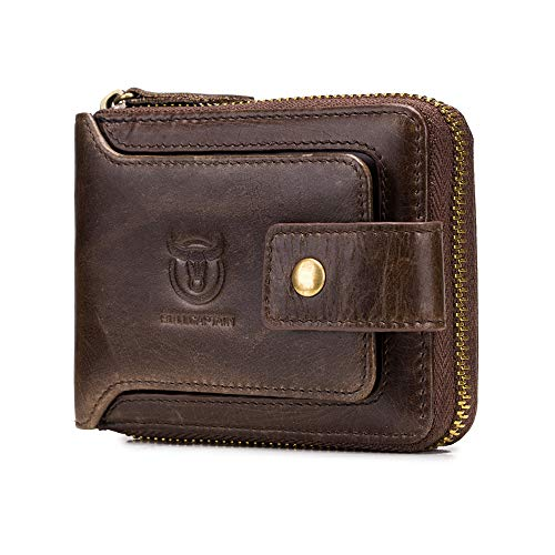 (BULLCAPTAIN Genuine Leather Wallet for Men Large Capacity ID Window Card Case with Zip Coin Pocket QB-231 (Coffee))