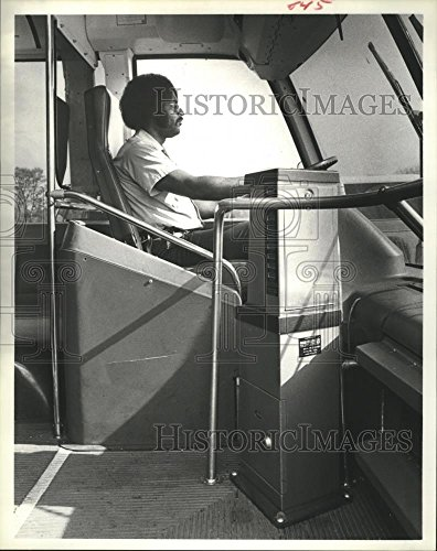 Historic Images 1978 Press Photo Fare Coin Boxes Installed Next To City Bus Driver in Houston. - 10 x 8 in