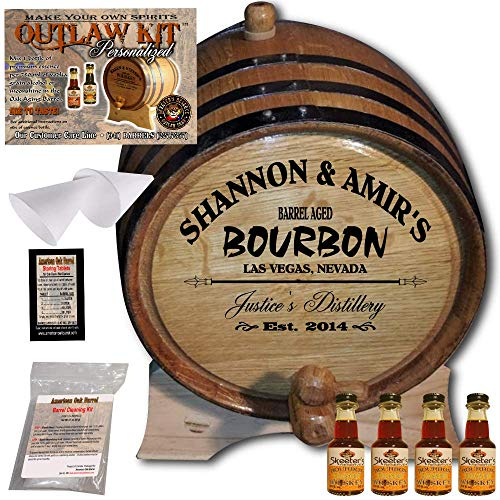 - Personalized Whiskey Making Kit (062) - Create Your Own Honey Bourbon Whiskey - The Outlaw Kit from Skeeter's Reserve Outlaw Gear - MADE BY American Oak Barrel - (Oak, Black Hoops, 3 Liter)